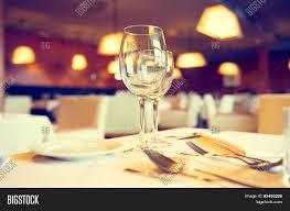 Dinner Table Served Dinner Table In A Restaurant Restaurant Interior Cozy