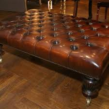 Large Tufted Leather Ottoman Furniture Cozy Living Room Using Leather Ottoman Coffee Table