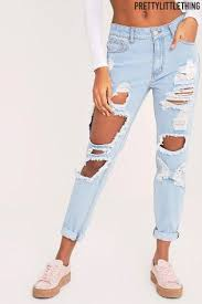 super light wash jeans buy prettylittlething mid rise light wash super distressed mom jeans