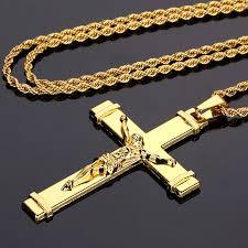 crucifix gold necklace images Nyuk 10pcs lot gold jesus cross necklaces pendants mens jewelry jpg