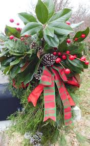 red u0026 green plaid ribbon pine cones and berry sprays with