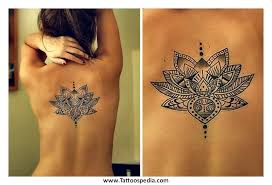 polynesian lotus back shoulder tattoo for women in 2017 real