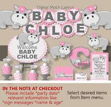 hippo baby shower decorations or hippo birthday party supplies