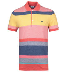 lacoste blue yellow striped jersey polo shirt