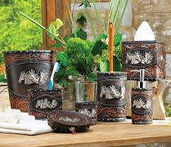 tooled leather bath accessories