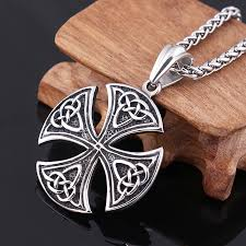 wholesale steel necklace chains images Mens boys silver black celtic knot magic pendant with stainless jpg