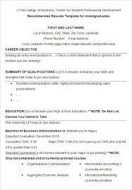 resume template college graduate resume for recent college