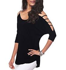 womens casual s casual hollowed out shoulder three quarter sleeve