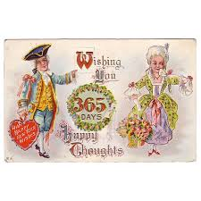 new year s postcards happy new years postcard w colonial woman from hillandhill