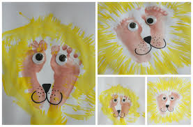 kids art lion painting with footprints and forks emma owl
