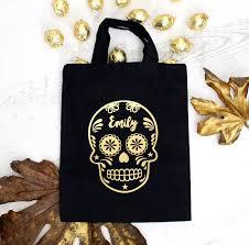 halloween sugar skull personalised trick or treat bag by precious
