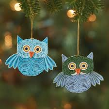 ornaments quilled owl ornament set