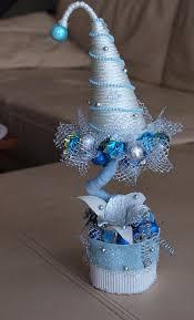 diy christmas topiary trees snowy decorative handmade craft idea
