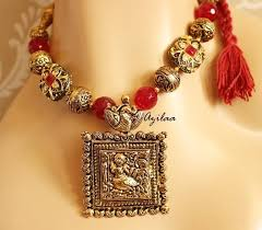 pendant necklace earrings images Laxmi pendant necklace earrings set maroon jewellery set online jpg