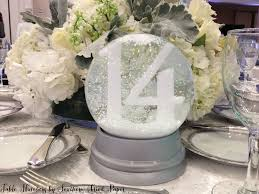 snow globe table number by southern fried paper weddings