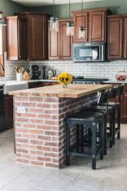 kitchen island wood countertop diy brick kitchen island the of our kitchen