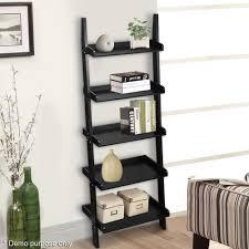 modern 179cm storage display leaning ladder shelf 5 tier black