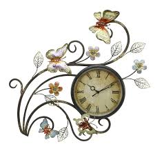 juliana contemporary metal wall art sculpture butterfly clock