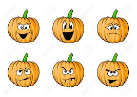 set of halloween faces pumpkins royalty free cliparts vectors
