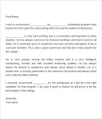 templates for scholarship awards sle letter of recommendation for scholarship 29 exles in
