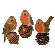 robin redbreast in autumn garden bird ornament 11 5cm x1