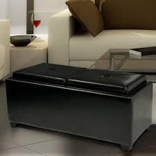 darby home co cassy leather storage tray ottoman u0026 reviews wayfair