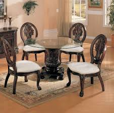 coaster tabitha 5 piece round glass top cherry dining table chair set
