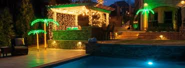 tropical oasis with lighted palm trees and patio lights tropical