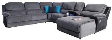 tyler 6pce corner lounge with 1 recliner and reclining chaise in