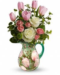 pitcher of roses teleflora s pitcher bouquet in robbins nc kinza s creations