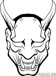 7 images printable carnival mask coloring pages demon