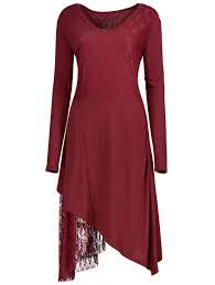 dresses red 5xl christmas party plus size lace trim asymmetric