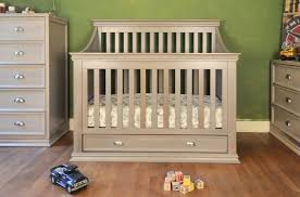 nursery modern design baby crib with changing table attached