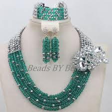 crystal bead necklace jewelry images Hot teal green nigerian crystal beads necklace jewellery set jpg