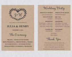 Rustic Wedding Program Template Heart Program Etsy