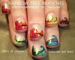 nail art for short nails diy cute rainbow tree design tutorial