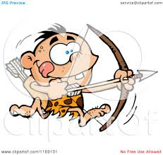 archer cartoon cartoon of an archer caveman bpu running with a bow and arrow