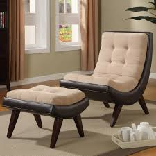 Leather Chair With Ottoman Oxford Creek Contemporary Two Tone Peat Velvet Faux Leather Chair