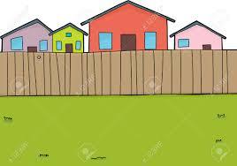 Backyard Cartoon Hand Drawn Suburban Backyard Background With Houses Royalty Free