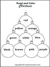 free read and color the christmas ornaments students practice