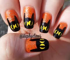 cat bat nail art simple halloween nail tutorial for beginners