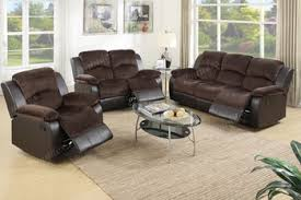 3pc sofa loveseat recliner set in all chocolate padded suede