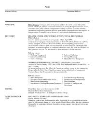 Example Resume  Writing Objectives For Resume  resort and hotel     happytom co