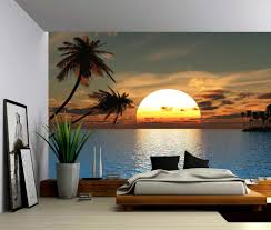 peel and stick vinyl wallpaper seascape tropical sunset ocean palm tree self adhesive vinyl