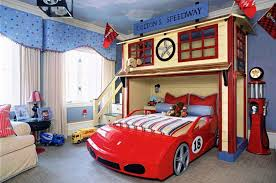 Race Car Bunk Beds Bunk Bed Car Bed Toddler With Striped Blacket And Toys And Pillows