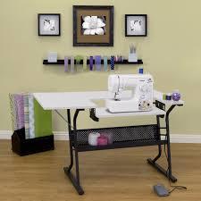 Desk Organizer Shelves White Sewing Machine Craft Table Folding Computer Desk Storage