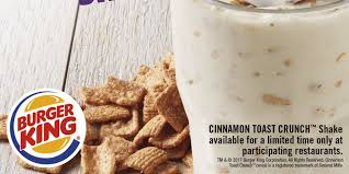 you can now get cinnamon toast crunch milkshakes at burger king