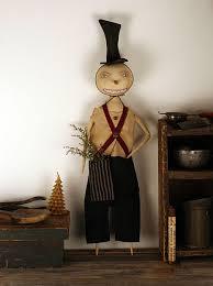 primitive snowman doll primitive folk by world primitives