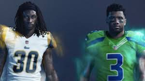 color rush here are the seahawks u0027 and rams u0027 wild uniforms for