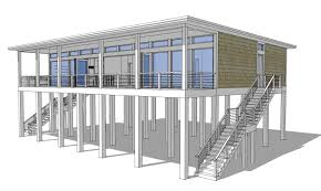 Beach Homes Plans Modern Piling Loft Style Beach Home Plan 44073td Architectural